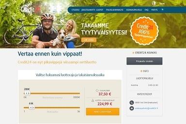 credit24 tyytyväisyystakuudellista pikavippiä 19v ikärajalla 250-3.000e nyt 24/7 netissä ja ilman vakuuksia