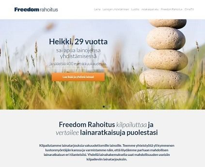 freedom rahoitus kilpailuttaa pankkilainat ja yhdistää kaikki kalliit vipit ja muut laskut yhdeksi lainaksi netissä