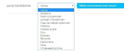 lainaaja.fi lainan käyttötarkoitus