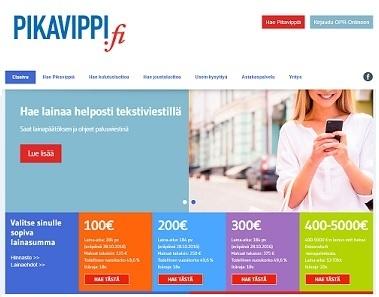 pikavippi.fi 6 kuukauden maksuohjelmalla 100-300e vippi 19v nyt myös helposti tekstiviestillä