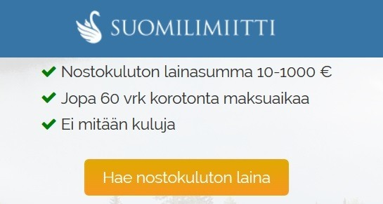 suomilimiitti nostokuluton ensilaina 10-1000e