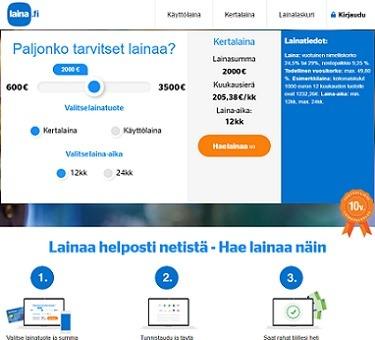 laina.fi kertalaina tai kulutusluotto verkkohakemuksella ilman liitteitä