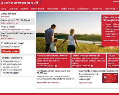 Bank Norwegianilta saat edullista lainaa ilman vakuuksia ja takaajia