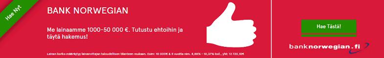 Bank Norwegian on halvin laina 2016 alkaen alle 5 % korollaan.