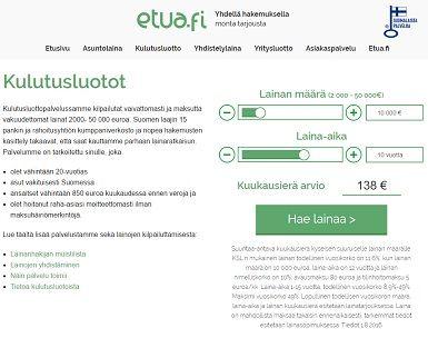 Etua.fi etsii edulliset kulutusluottotarjoukset nettihakemuksella.