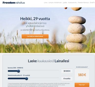 Freedom Rahoitukselta halpaa lainaa jopa vain 4,19 % vuosikorolla.