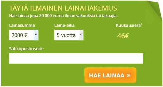 Hae kulutusluottoa nyt jopa 20.000 euroa ilman takaajaa ja vakuutta.