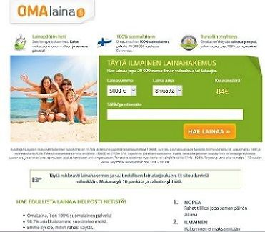 Omalaina.fi välittää aina parhaan lainan, joka on napakymppi sinulle.