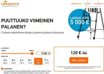 Credentolta saat joustoluottoa 5000 euroon asti.