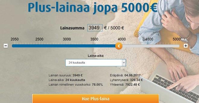 Valitse Ferratum laina euron tarkkuudella 2050 - 5000 euron väliltä.