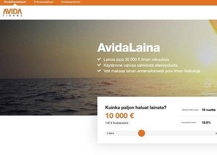 Avida Finance sähköinen laina on vakuudeton ja sitä saa jopa 30 000 euroa
