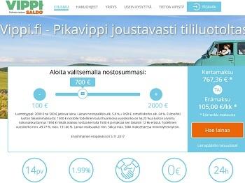 Vippi.fi on Saldon tarjoama joustava 500 - 2000 euron luottoraja (lue joustoluotto).