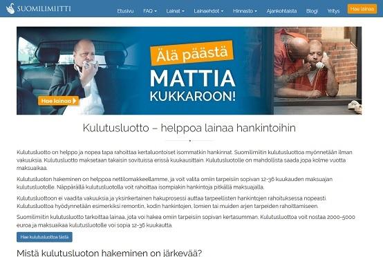 Kulutusluotto - Ei Mattia kukkaroon, sillä Suomilimiitti kulutusluotto on vastaus Tarjolla on lainaa edullisesti ja varmasti 5000 euroon saakka
