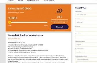 Komplett Bank – Lainaa pankista 50.000 € asti netistä